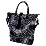 Tropical leafs pattern, black and white jungle theme Buckle Top Tote Bag