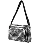 Tropical leafs pattern, black and white jungle theme Front Pocket Crossbody Bag