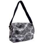 Tropical leafs pattern, black and white jungle theme Courier Bag