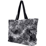 Tropical leafs pattern, black and white jungle theme Simple Shoulder Bag