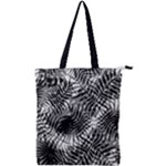 Tropical leafs pattern, black and white jungle theme Double Zip Up Tote Bag
