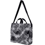 Tropical leafs pattern, black and white jungle theme Square Shoulder Tote Bag