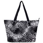 Tropical leafs pattern, black and white jungle theme Full Print Shoulder Bag