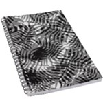 Tropical leafs pattern, black and white jungle theme 5.5  x 8.5  Notebook