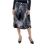 Tropical leafs pattern, black and white jungle theme Classic Velour Midi Skirt