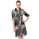 Tropical leafs pattern, black and white jungle theme Long Sleeve Mini Shirt Dress