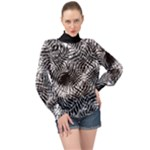Tropical leafs pattern, black and white jungle theme High Neck Long Sleeve Chiffon Top