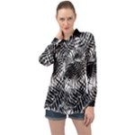 Tropical leafs pattern, black and white jungle theme Long Sleeve Satin Shirt