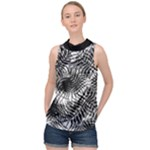 Tropical leafs pattern, black and white jungle theme High Neck Satin Top