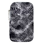 Tropical leafs pattern, black and white jungle theme Waist Pouch (Large)