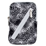 Tropical leafs pattern, black and white jungle theme Belt Pouch Bag (Large)