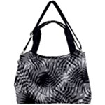 Tropical leafs pattern, black and white jungle theme Double Compartment Shoulder Bag