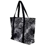 Tropical leafs pattern, black and white jungle theme Zip Up Canvas Bag