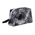 Tropical leafs pattern, black and white jungle theme Wristlet Pouch Bag (Medium)