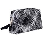 Tropical leafs pattern, black and white jungle theme Wristlet Pouch Bag (Large)