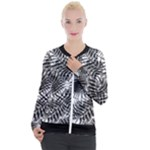 Tropical leafs pattern, black and white jungle theme Casual Zip Up Jacket