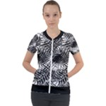 Tropical leafs pattern, black and white jungle theme Short Sleeve Zip Up Jacket