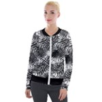 Tropical leafs pattern, black and white jungle theme Velvet Zip Up Jacket