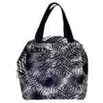 Tropical leafs pattern, black and white jungle theme Boxy Hand Bag