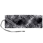 Tropical leafs pattern, black and white jungle theme Roll Up Canvas Pencil Holder (M)