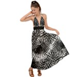Tropical leafs pattern, black and white jungle theme Backless Maxi Beach Dress
