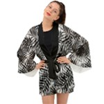 Tropical leafs pattern, black and white jungle theme Long Sleeve Kimono