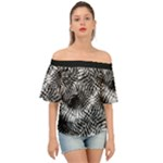 Tropical leafs pattern, black and white jungle theme Off Shoulder Short Sleeve Top