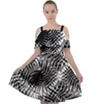 Tropical leafs pattern, black and white jungle theme Cut Out Shoulders Chiffon Dress