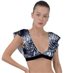 Tropical leafs pattern, black and white jungle theme Plunge Frill Sleeve Bikini Top
