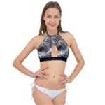 Tropical leafs pattern, black and white jungle theme Cross Front Halter Bikini Top