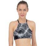 Tropical leafs pattern, black and white jungle theme Racer Front Bikini Top