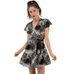 Tropical leafs pattern, black and white jungle theme Flutter Sleeve Wrap Dress