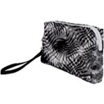 Tropical leafs pattern, black and white jungle theme Wristlet Pouch Bag (Small)