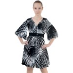 Tropical leafs pattern, black and white jungle theme Boho Button Up Dress