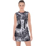 Tropical leafs pattern, black and white jungle theme Lace Up Front Bodycon Dress