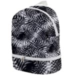 Tropical leafs pattern, black and white jungle theme Zip Bottom Backpack