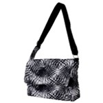 Tropical leafs pattern, black and white jungle theme Full Print Messenger Bag (M)