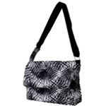Tropical leafs pattern, black and white jungle theme Full Print Messenger Bag (L)