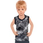 Tropical leafs pattern, black and white jungle theme Kids  Sport Tank Top