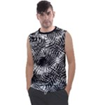 Tropical leafs pattern, black and white jungle theme Men s Regular Tank Top