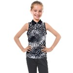 Tropical leafs pattern, black and white jungle theme Kids  Sleeveless Polo Tee
