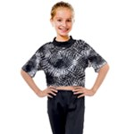 Tropical leafs pattern, black and white jungle theme Kids Mock Neck Tee
