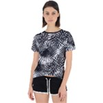 Tropical leafs pattern, black and white jungle theme Open Back Sport Tee
