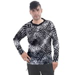 Tropical leafs pattern, black and white jungle theme Men s Pique Long Sleeve Tee