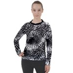 Tropical leafs pattern, black and white jungle theme Women s Pique Long Sleeve Tee