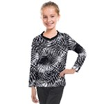 Tropical leafs pattern, black and white jungle theme Kids  Long Mesh Tee