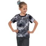 Tropical leafs pattern, black and white jungle theme Kids  Mesh Piece Tee
