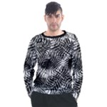 Tropical leafs pattern, black and white jungle theme Men s Long Sleeve Raglan Tee