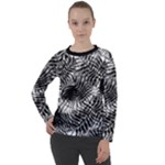Tropical leafs pattern, black and white jungle theme Women s Long Sleeve Raglan Tee