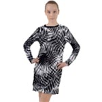 Tropical leafs pattern, black and white jungle theme Long Sleeve Hoodie Dress